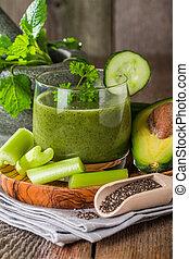 건강한, 녹색, 주스, smoothie