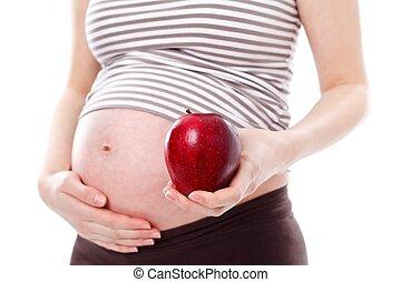 건강한, 동안에, 먹다, 임신