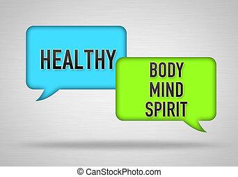 건강한, -, 몸, 마음, 와..., 정신