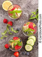 건강한, 물, 과일, 과일, 쏟게 된다,  detox