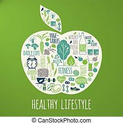 건강한, 벡터, 생활 양식, illustration.