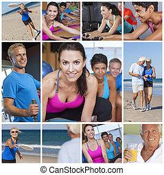 건강한, 사람, 여자, 사람, 생활 양식, &, 운동