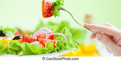 건강한, 샐러드, 먹다, 와, 야채, 통하고 있는, 녹색의 배경