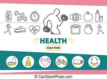 건강한 생활양식, 선, 아이콘, 세트