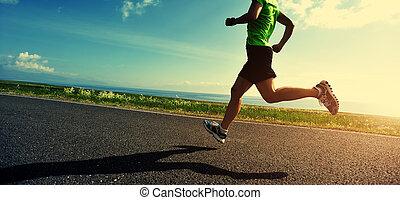 건강한 생활양식, 여자, 주자, 달리기, 통하고 있는, 길