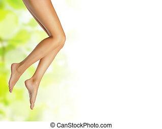건강한, 성적 매력이 있는, 미덥지 않은, 여성, 다리, 위의, 봄, 배경