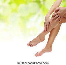 건강한, 성적 매력이 있는, 미덥지 않은, 여성, 다리, 존재, 완화되는, 와, 손