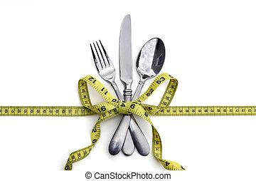 건강한, 식이요법을 함, 개념, 먹다, 또는