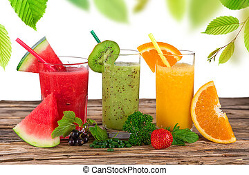 건강한, 신선한, drinks., 과일 과즙
