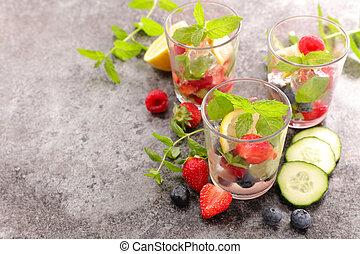 건강한, 쏟게 된다, detox, 물, 과일, 과일