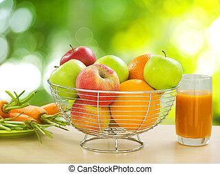 건강한, 야채, 과일, 유기체의, 음식.