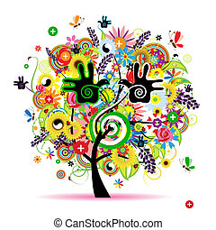건강한, 에너지, 나무, 디자인, 초본, 너의