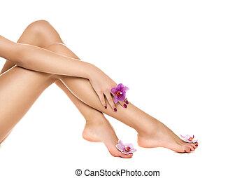건강한, 여성, legs., spa.