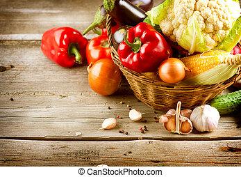 건강한, 유기체의, vegetables., 생물, 음식