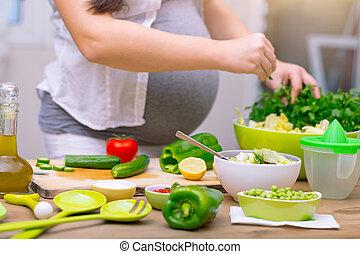 건강한, 임신, 개념