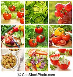 건강한, 콜라주, 야채, 음식