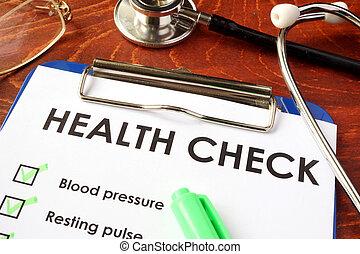 건강 수표, 형태, 통하고 있는, a, clipboard.
