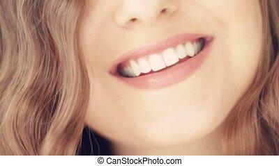 건강, 아름다움, 이, 백색, 완전한, 미소, 젊은 숙녀, 건강한, 아름다운, toothy