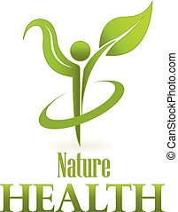 건강, 자연, 녹색의 잎, 걱정, 로고, 벡터, 아이콘