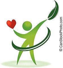 건강, 자연, 심장, 걱정, 로고