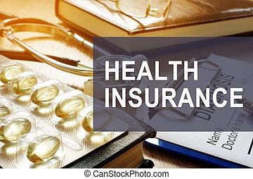 건강, insurance., 진단, 와..., 약, 통하고 있는, a, desk.