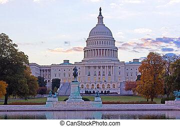 건물, 국회 의사당, 워싱톤 피해 통제, 우리, 가을, 새벽