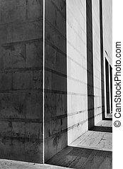 건물, 그림자, 정면, 건축술