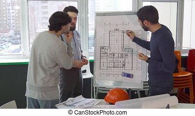 건물, 설명하는, 동료, 그의 것, 건축가, 무엇인가, 계획