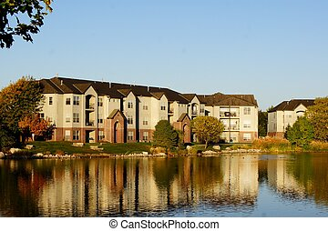 건물, 아파트 단지, 호수