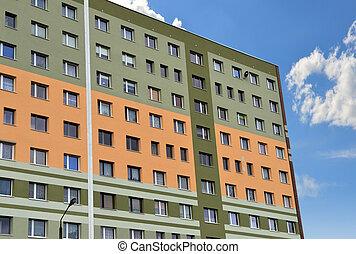 건물, 아파트, 크게, house., 공동주권, 마천루, block.