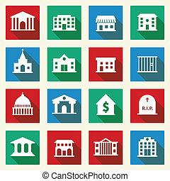 건물, 정부, 아이콘