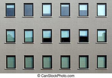 건물, 창, 현대, 직물, 직사각형의, 정면