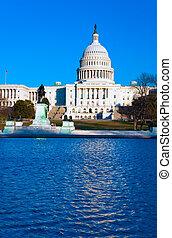 건물, 파랑, dc, 국회 의사당, 미국, 밝다, 워싱톤, 하늘