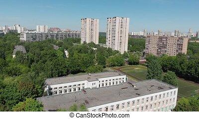건물, 학교, 주거다, 정상, 운동회, 경기장, russia., 모스크바, 보이는 상태