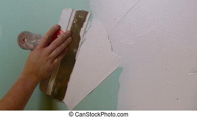 건설 직원, 적용하는 것, 회반죽, 통하고 있는, a, drywall