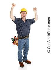 건설 직원, 흥분한다