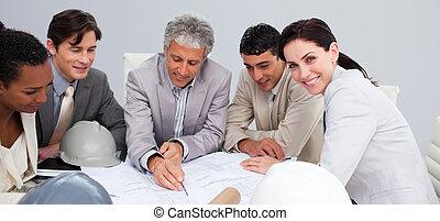 건축가, 에서, a, 특수한 모임, 공부, 계획