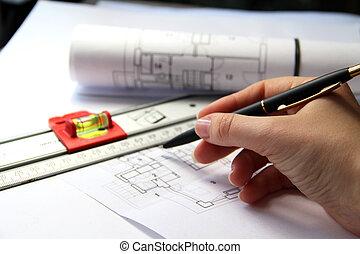 건축술, 테이블에, 와..., 도구