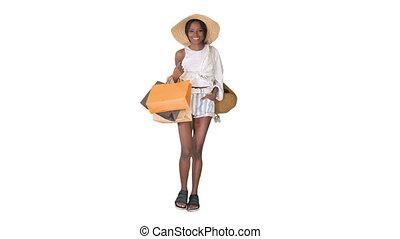 걷고 있는 여성, 쇼핑 백, 나이 적은 편의, 유행, afro, 배경., 백색