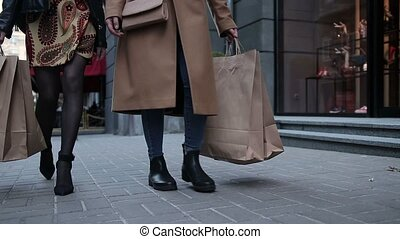 걷기, 쇼핑, 거리, 여성, 성적 매력이 있는, 다리