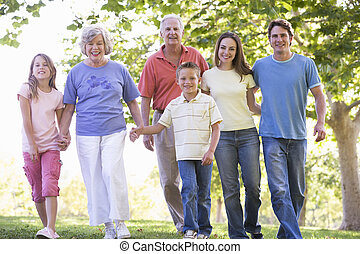 걷기, 확장된 가족, 공원 보유 손, 미소