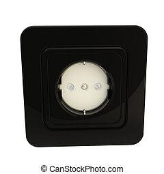 검정, 광택 인화, 끼우는 구멍, 고립된, 백색 위에서