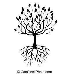 검정, 나무, 와, roots., 벡터, illustration.