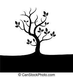 검정, 벡터, 나무
