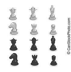 검정, 삽화, 세트, 체스, 백색