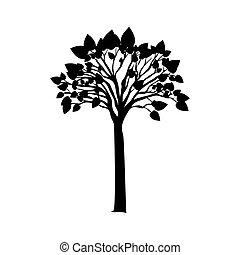 검정, 실루엣, 나무, 와, 잎이 많은, 은 분기한다