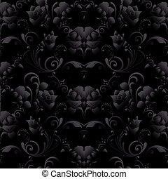 검정, 장미, seamless, pattern., 벡터, 암흑, 검정, 꽃의, backgroun