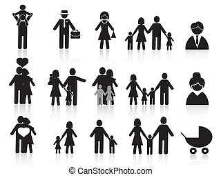 검정, 행복한 가족, 아이콘, 세트