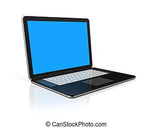 검정, 휴대용 컴퓨터, 고립된, 백색 위에서