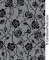 검정, roses., seamless, 패턴